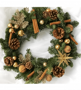 Венок Рождественская звезда – Інтернет-магазин квітів STUDIO Flores