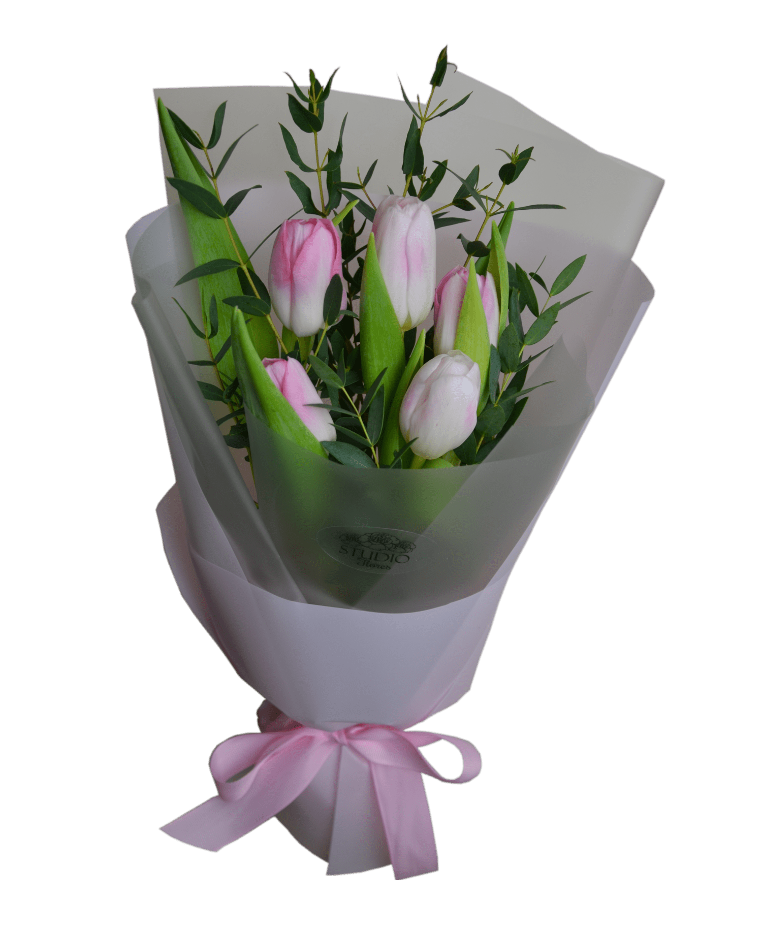 Order Bouquet Of Flowers Bouquet Of Tulips With Eucalyptus With