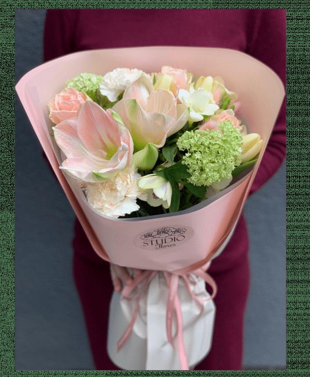 Букет Персикове парліне – Інтернет-магазин квітів STUDIO Flores