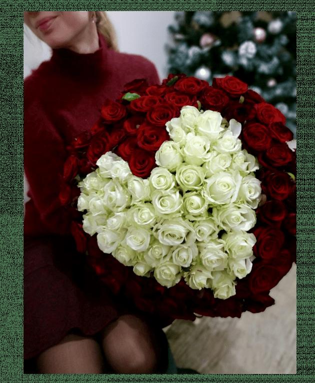 """Букет """"101 троянда серце"""" – Інтернет-магазин квітів STUDIO Flores"""